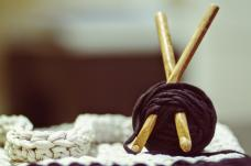 Crochet needles and yarn