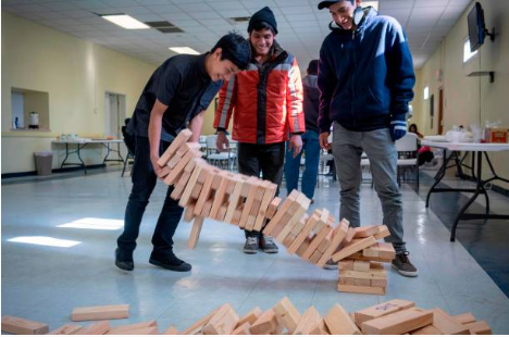 giant jenga, library fun, family program