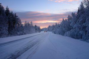 Beautiful snowy road in winter