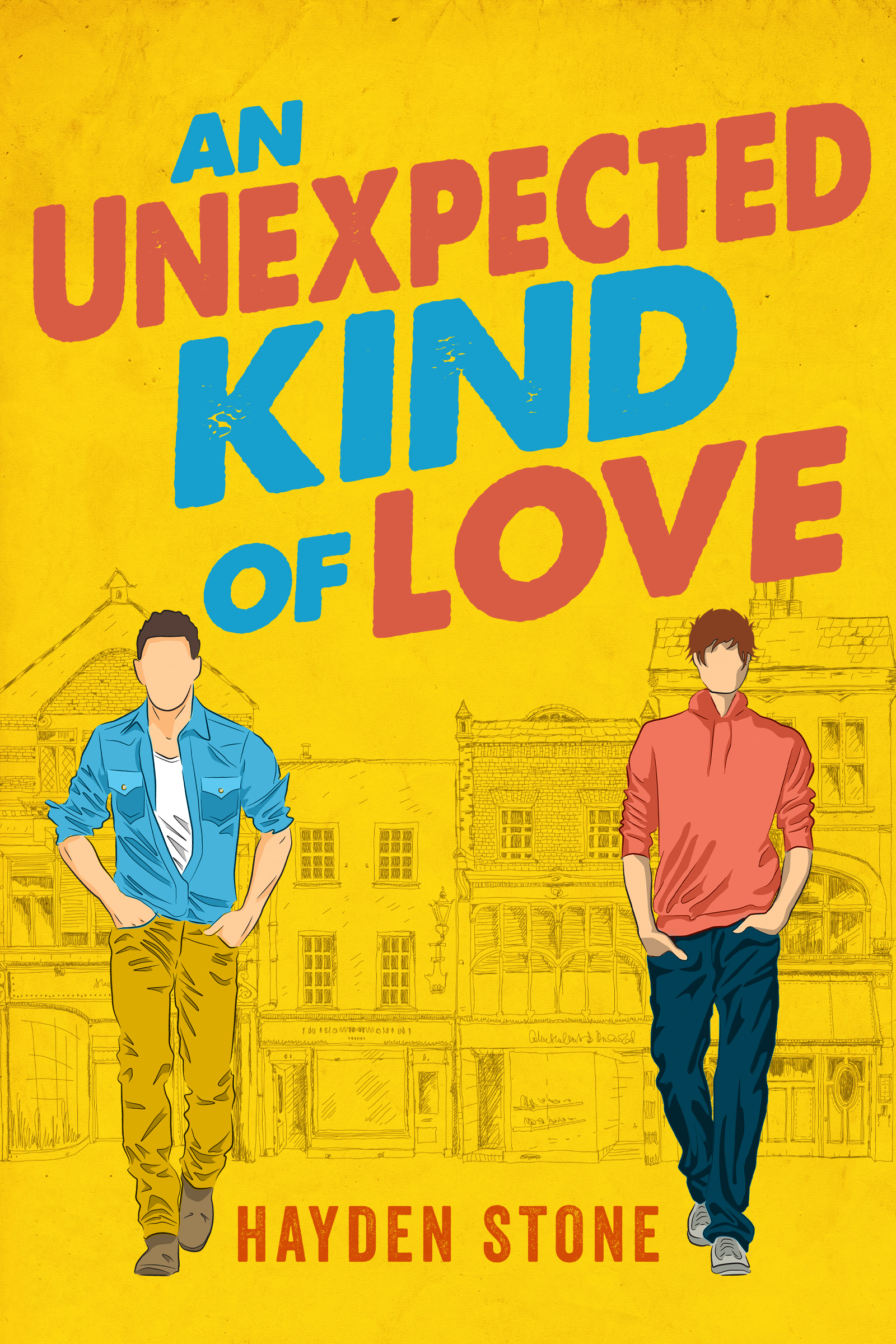 """Book cover of """"An Unexpected Kind of Love"""" by Hayden Stone. On the cover there are two men walking in front of buildings."""